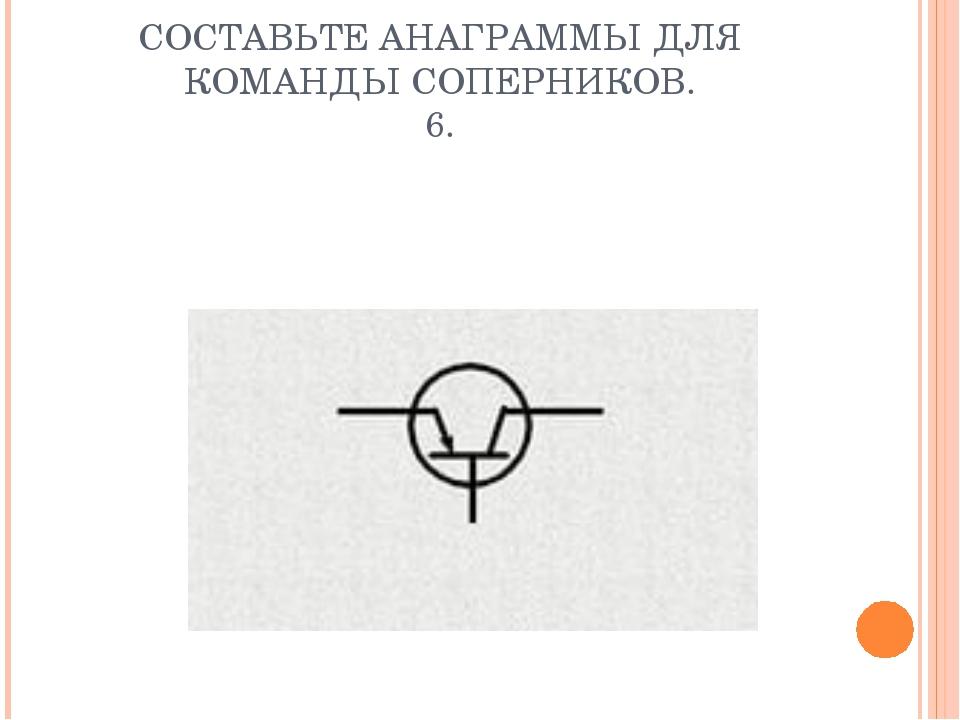 СОСТАВЬТЕ АНАГРАММЫ ДЛЯ КОМАНДЫ СОПЕРНИКОВ. 6.