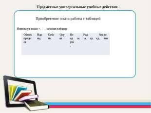 Предметные универсальные учебные действия Приобретение опыта работы с таблиц