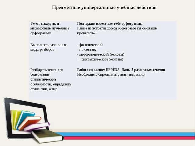 Предметные универсальные учебные действия Уметь находить и маркировать изучен...