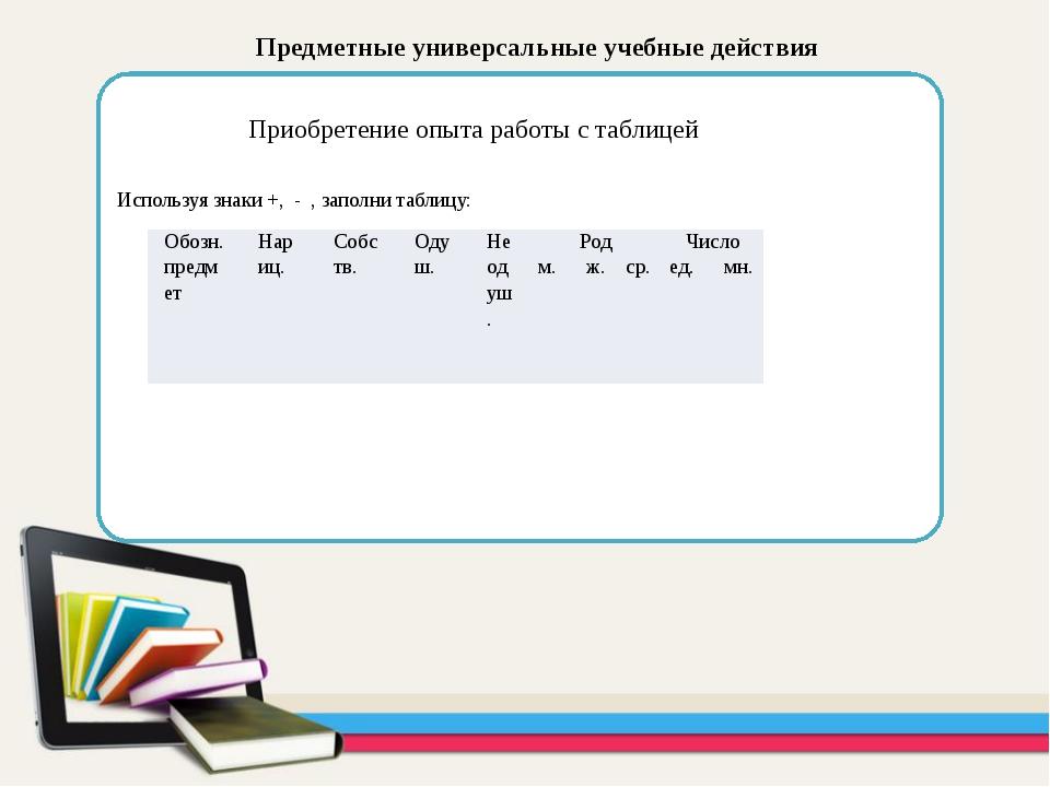Предметные универсальные учебные действия Приобретение опыта работы с таблиц...