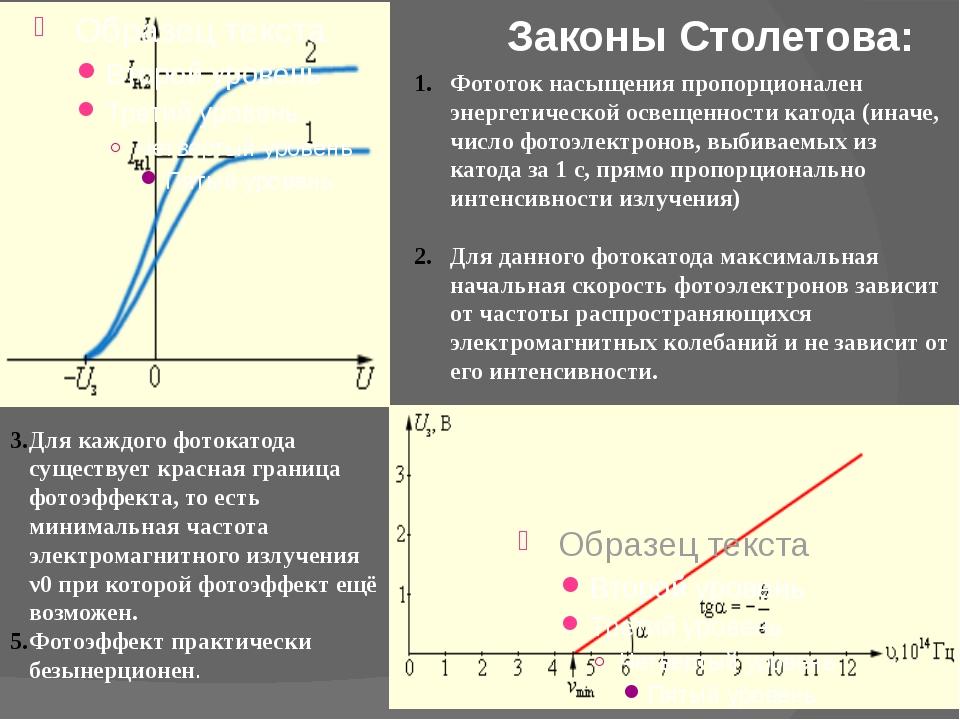 Законы Столетова: Фототок насыщения пропорционален энергетической освещенност...