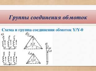 Схема и группа соединения обмоток Y/Y-0 Группы соединения обмоток