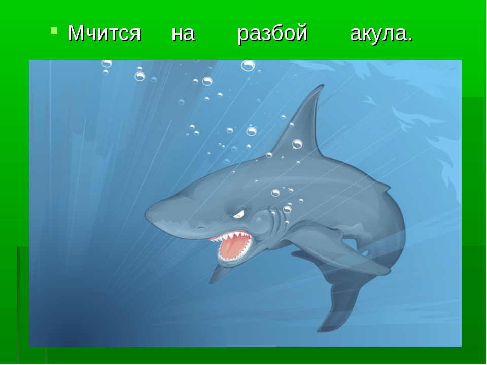 Мчится на разбой акула.