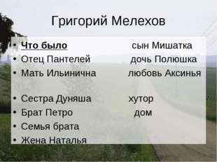 Григорий Мелехов Что было сын Мишатка Отец Пантелей дочь Полюшка Мать Ильинич