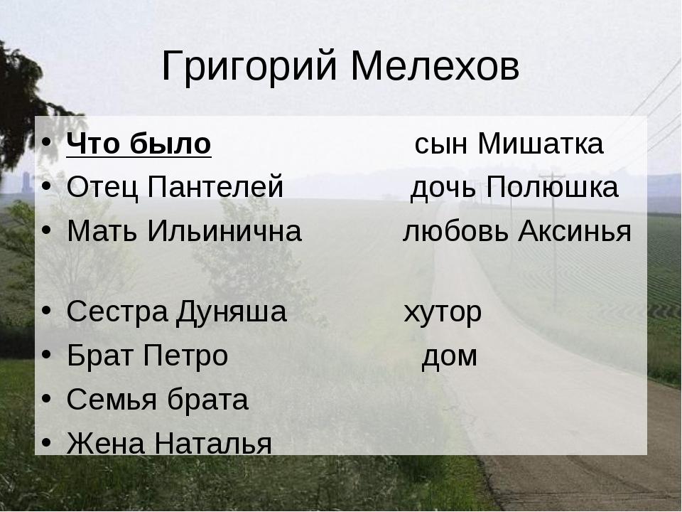 Григорий Мелехов Что было сын Мишатка Отец Пантелей дочь Полюшка Мать Ильинич...