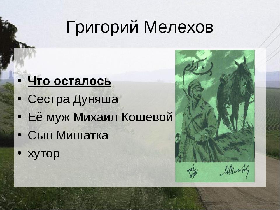 Григорий Мелехов Что осталось Сестра Дуняша Её муж Михаил Кошевой Сын Мишатка...
