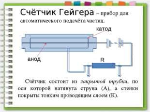 Счётчик Гейгера – прибор для автоматического подсчёта частиц. Счётчик состоит