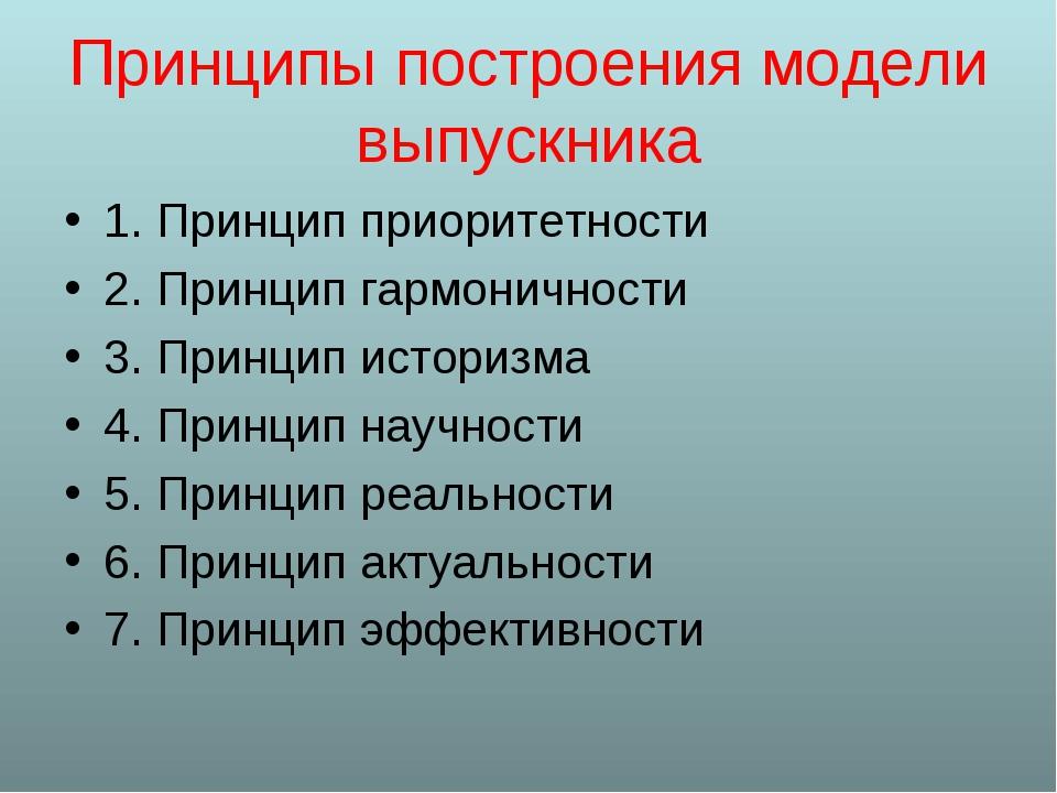Принципы построения модели выпускника 1. Принцип приоритетности 2. Принцип га...
