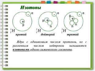 Изотопы n n n Ядра с одинаковым числом протонов, но с различным числом нейтро