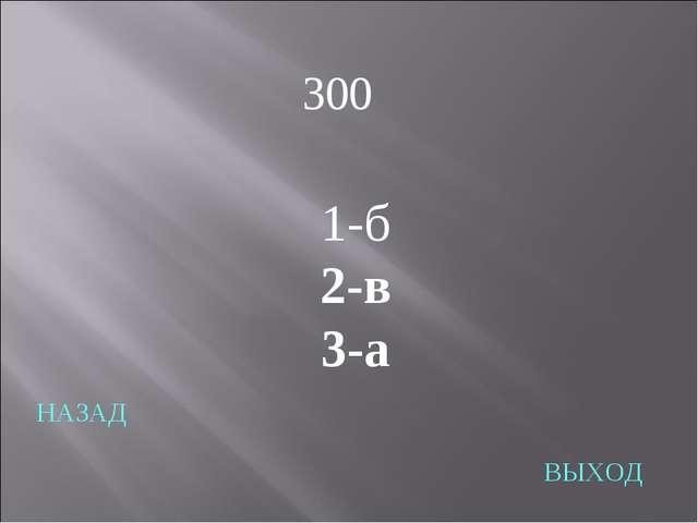НАЗАД ВЫХОД 1-б 2-в 3-а 300