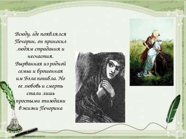 Всюду, где появлялся Печорин, он приносил людям страдания и несчастия. Вырва...