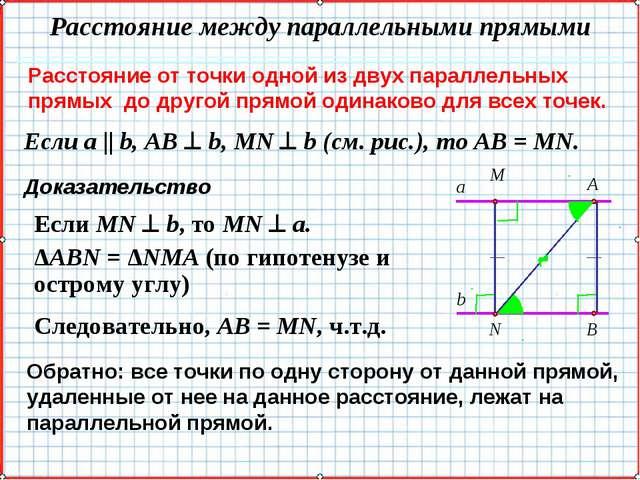 Расстояние от точки одной из двух параллельных прямых до другой прямой одинак...