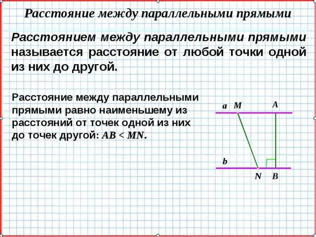 Расстоянием между параллельными прямыми называется расстояние от любой точки...