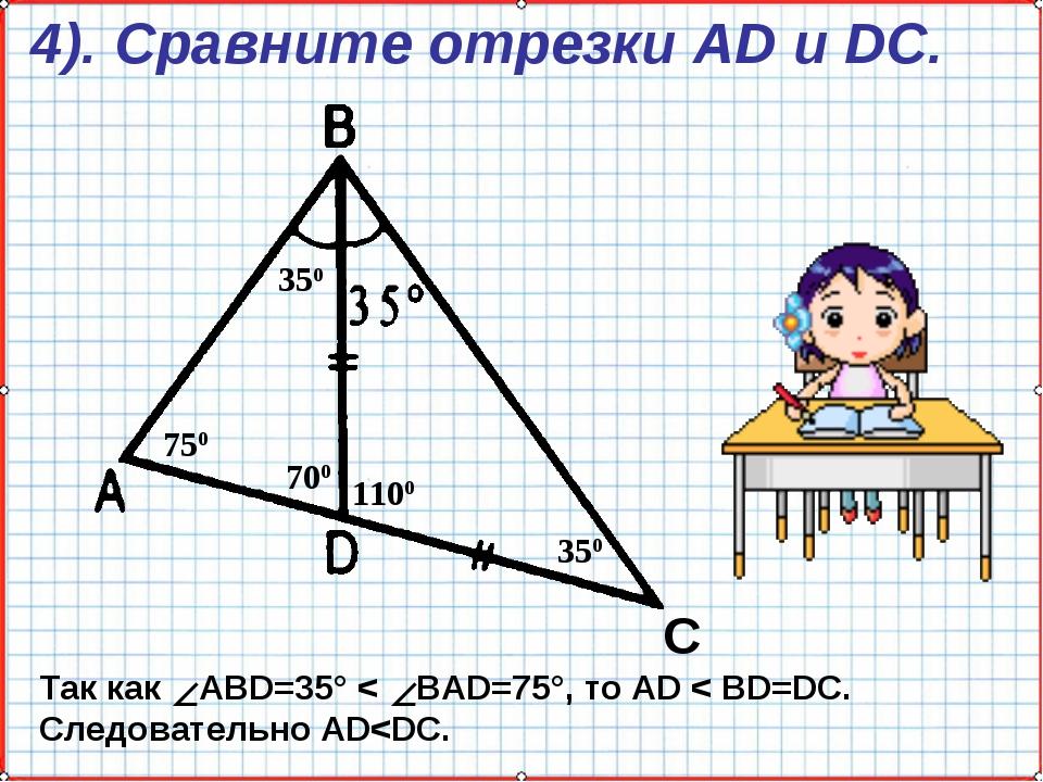4). Сравните отрезки AD и DC. С 350 1100 700 350 750 Так как ABD=35° < BAD=75...