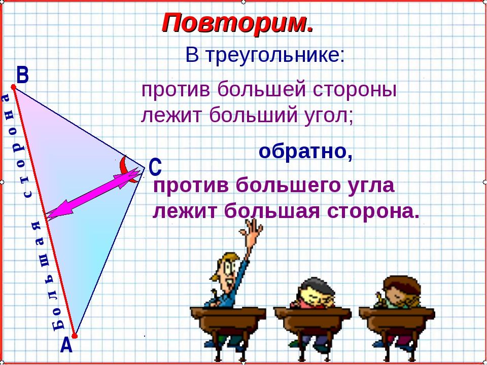 Б о л ь ш а я с т о р о н а Повторим. В треугольнике: против большей стороны...