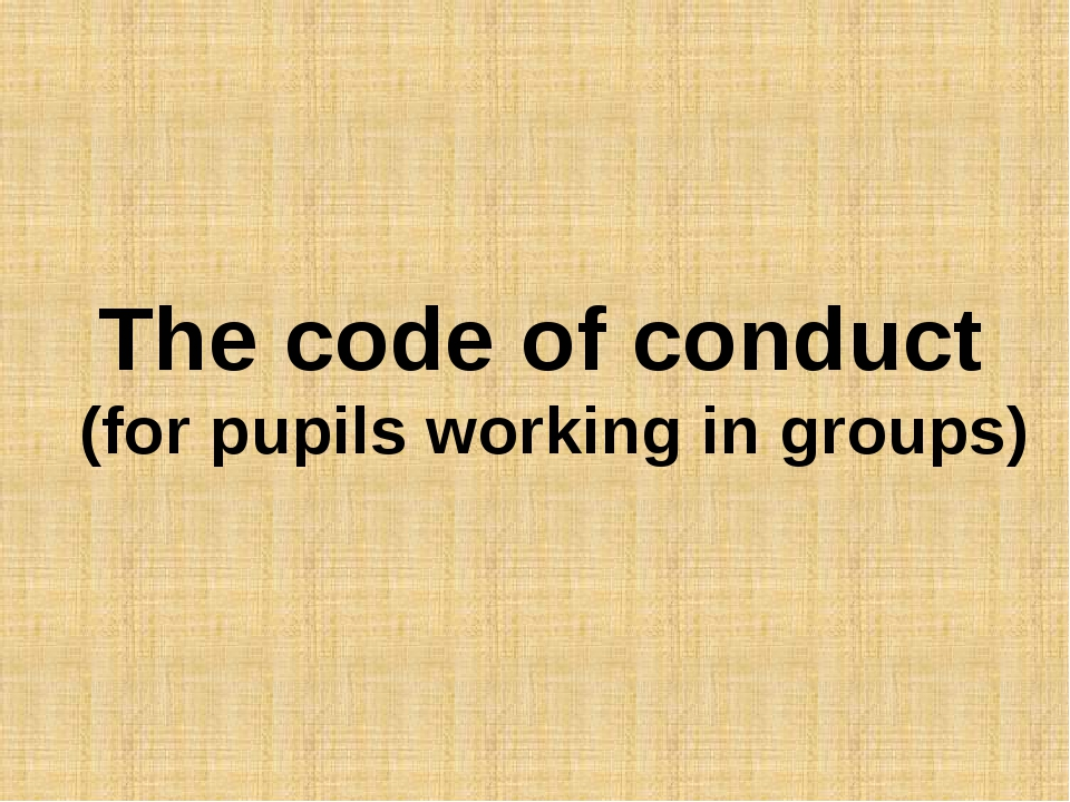 The code of conduct (for pupils working in groups)