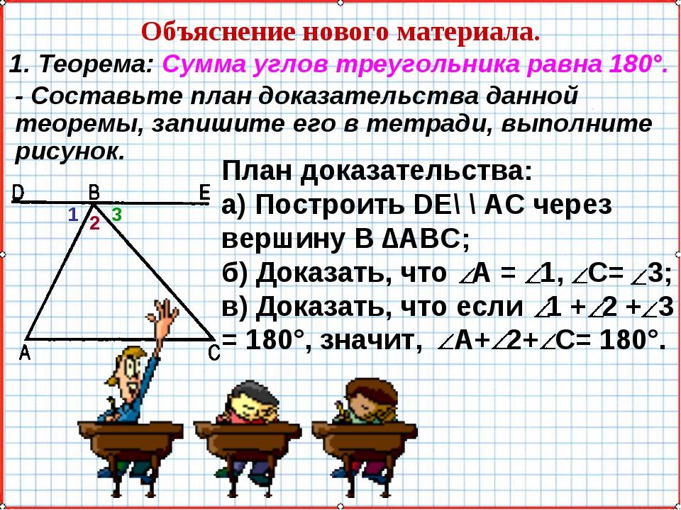 Объяснение нового материала. 1 2 3 1. Теорема: Сумма углов треугольника равна...