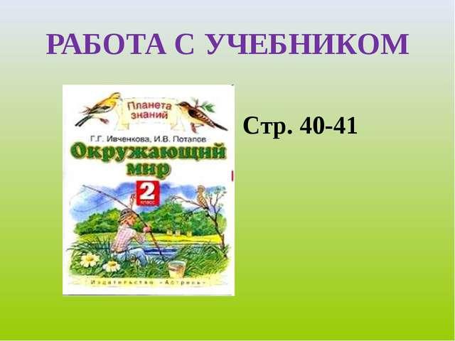 РАБОТА С УЧЕБНИКОМ Стр. 40-41