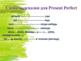 Слова-подсказки для Present Perfect  already ----------------------------- у