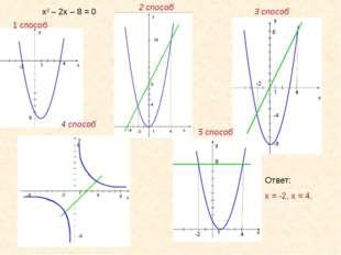 1 способ 2 способ 3 способ 4 способ 5 способ Ответ: х = -2, х = 4. х2 – 2х –