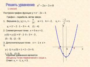 1 способ Корнями уравнения являются абсциссы точек пересечения с осью х. Отве