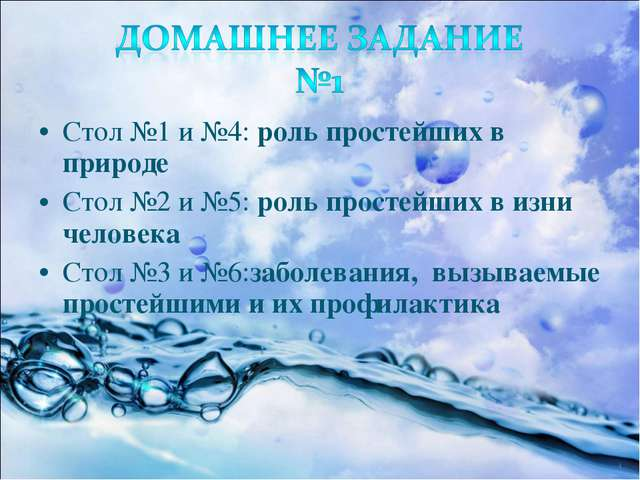 Стол №1 и №4: роль простейших в природе Стол №2 и №5: роль простейших в изни...