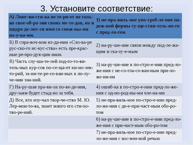 3. Установите соответствие: А) Лингвистика не теряет не только своеоб...