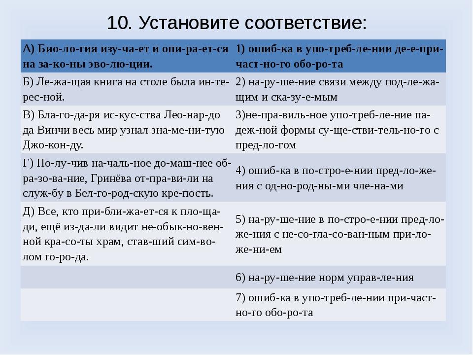 10. Установите соответствие: A) Биология изучает и опирается на зако...