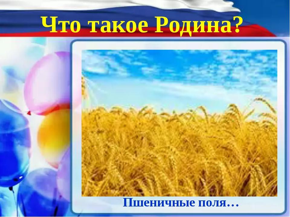 Что такое Родина? Пшеничные поля…