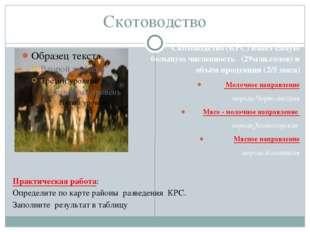 Скотоводство Скотоводство (КРС) имеет самую большую численность (29млн.голов)