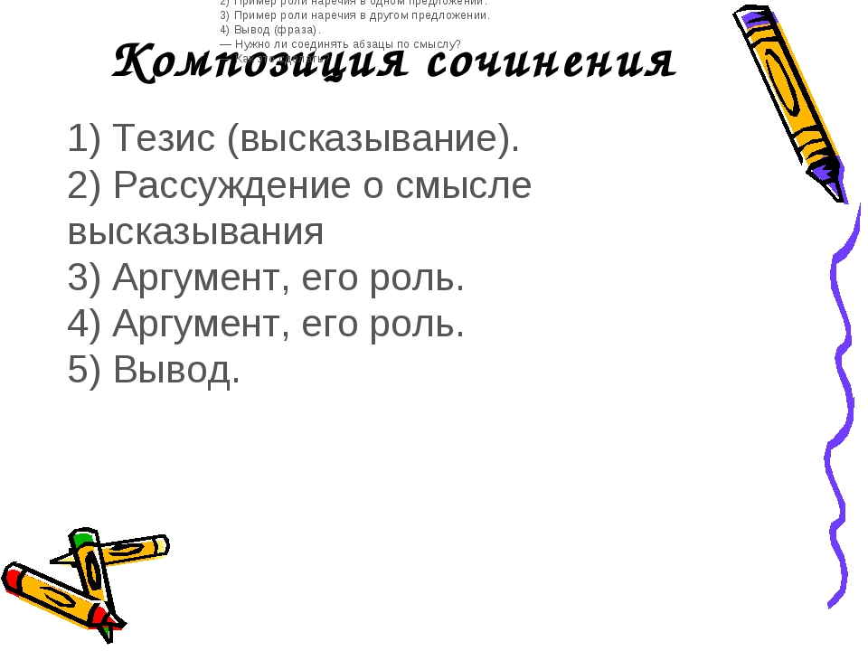 Композиция сочинения 1) Тезис (высказывание). 2) Рассуждение о смысле высказы...