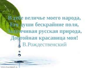 В тебе величье моего народа, Его души бескрайние поля, Задумчивая русская пр