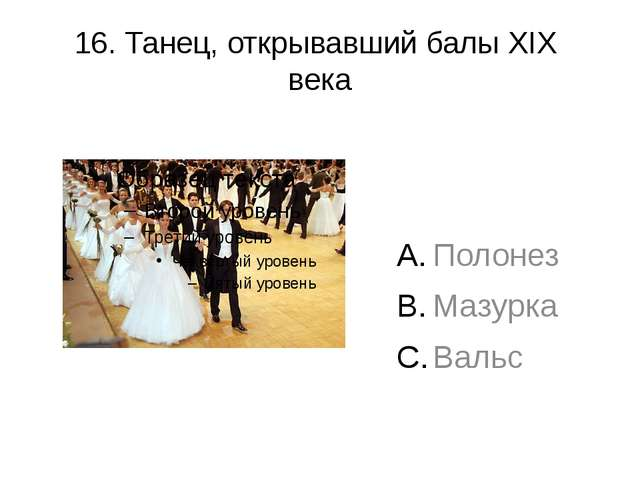 16. Танец, открывавший балы XIX века Полонез Мазурка Вальс
