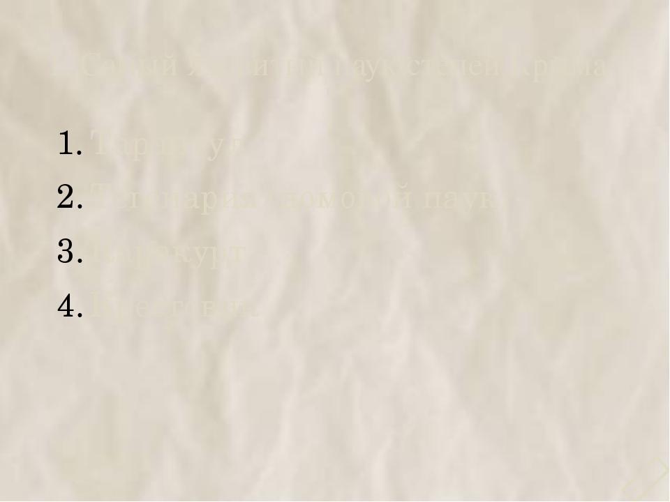 1. Самый ядовитый паук степей Крыма Тарантул Тегенария (домовой паук) Каракур...