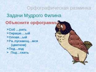 Орфографическая разминка Задачи Мудрого Филина Объясните орфограммы Соб …рать