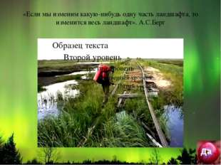 «Если мы изменим какую-нибудь одну часть ландшафта, то изменится весь ландша