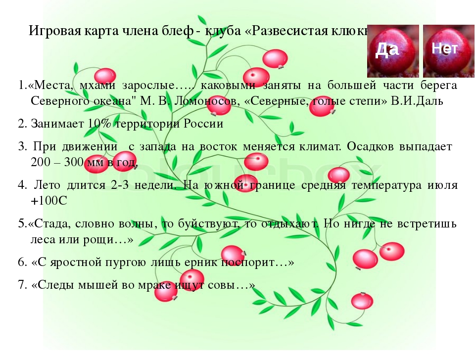 Игровая карта члена блеф - клуба «Развесистая клюква» 1.«Места, мхами заросл...