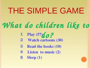 THE SIMPLE GAME What do children like to do? Play (57) Sleep (1) Listen to mu