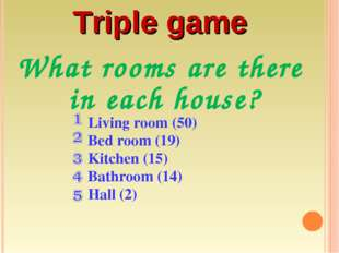 What rooms are there in each house? Living room (50) Bed room (19) Kitchen (1