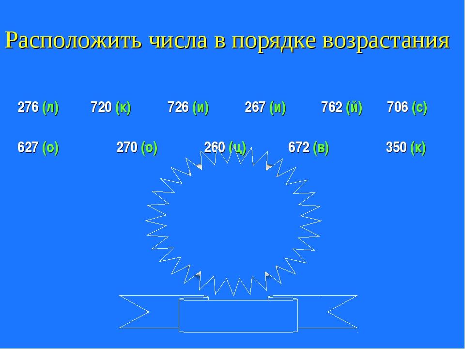 Расположить числа в порядке возрастания 276 (л) 720 (к) 762 (й) 627 (о) 726 (...