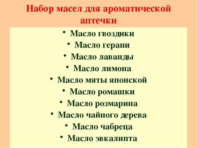 Набор масел для ароматической аптечки Масло гвоздики Масло герани Масло лаван...