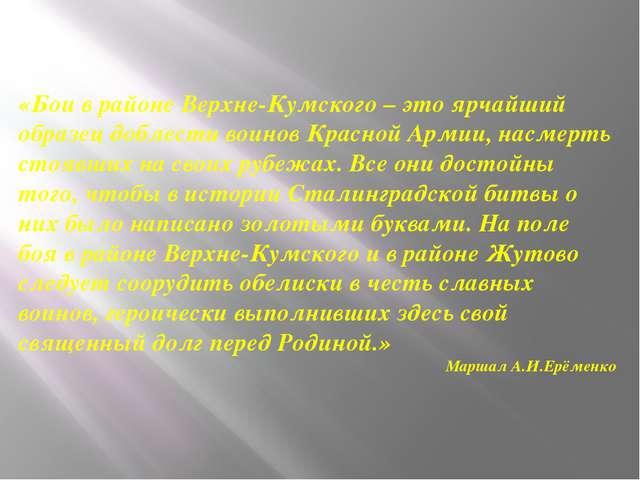 «Бои в районе Верхне-Кумского – это ярчайший образец доблести воинов Красной...