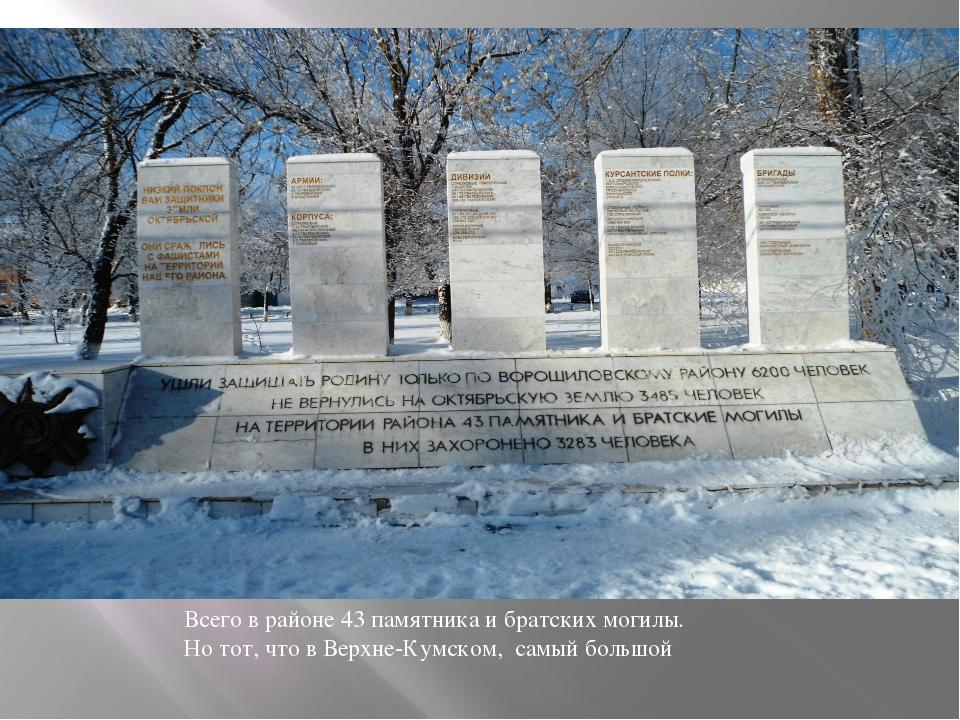 Всего в районе 43 памятника и братских могилы. Но тот, что в Верхне-Кумском,...