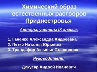 Авторы, ученицы IX класса: 1. Ганенко Александра Андреевна 2. Петко Наталья Ю