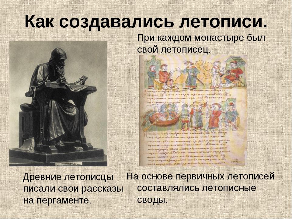 Как создавались летописи. Древние летописцы писали свои рассказы на пергамент...