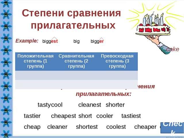 Определите степень сравнения прилагательных: tastycoolcleanestshorter tas...