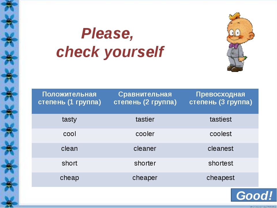 Please, check yourself Good! Положительнаястепень (1 группа) Ср...