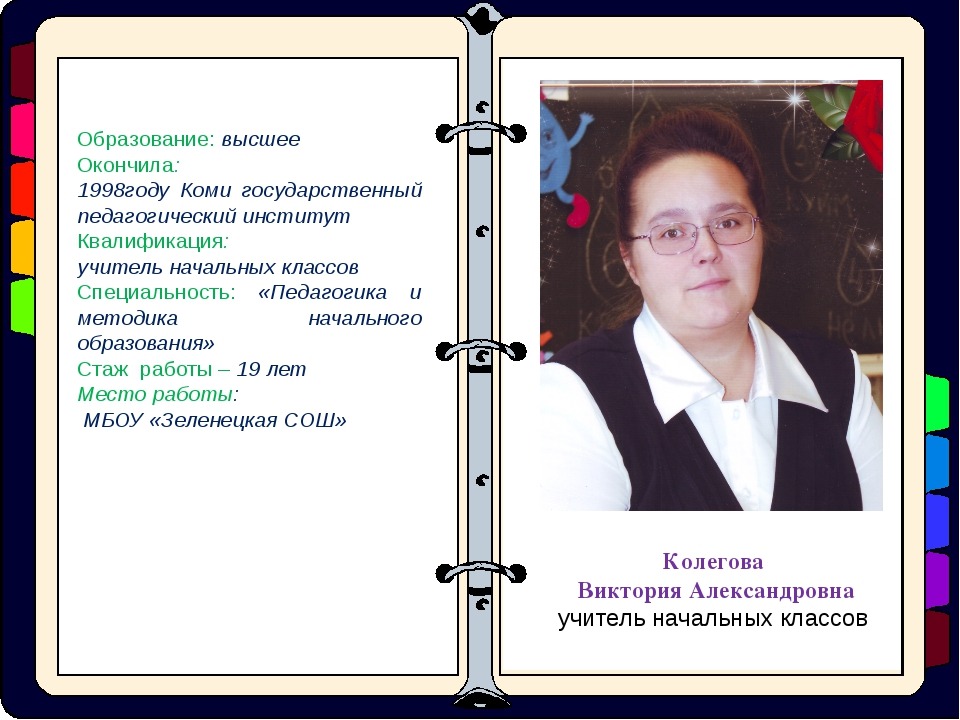 Образование: высшее Окончила: 1998году Коми государственный педагогический и...