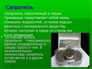 Сапропе́ль Основные запасы сапропеля Николаевского района сосредоточены в озе