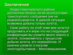 Заключение Недра Николаевского района достаточно богаты, но из-за отсутствия